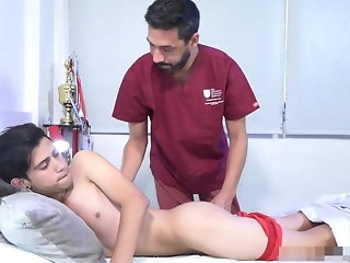 old+young Sports doctor provide proficient painkiller bareback